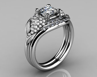 Nature Inspired 14K White Gold 1.0 CT White Sapphire Diamond Grape, Vine and Leaf Engagement Ring Set NN118SS-14KWGDWS