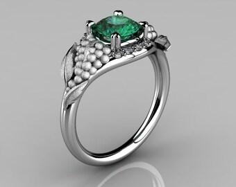 Nature Inspired 14K White Gold 1.0 CT Emerald Diamond Grape, Vine and Leaf Engagement Ring NN118S-14KWGDEM