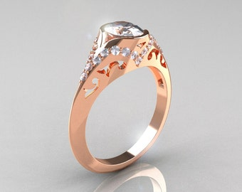 Classic 14K Rose Gold Oval White Sapphire Diamond Wedding Ring, Engagement Ring R194-14KRGDNWS
