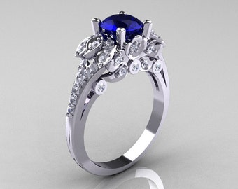 Classic 18K White Gold 1.0 CT Blue Sapphire Diamond Solitaire Wedding Ring R203-18KWGDBS