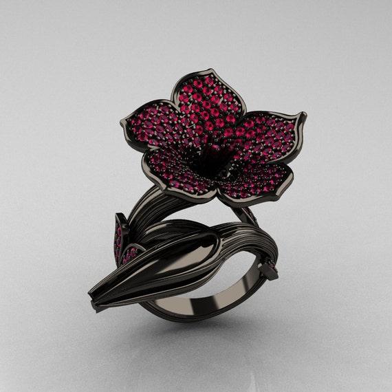 Designer Exclusive 14K Black Gold Pink Sapphire Devils Trumpet Flower and Vine Ring NN123-14KBGPS