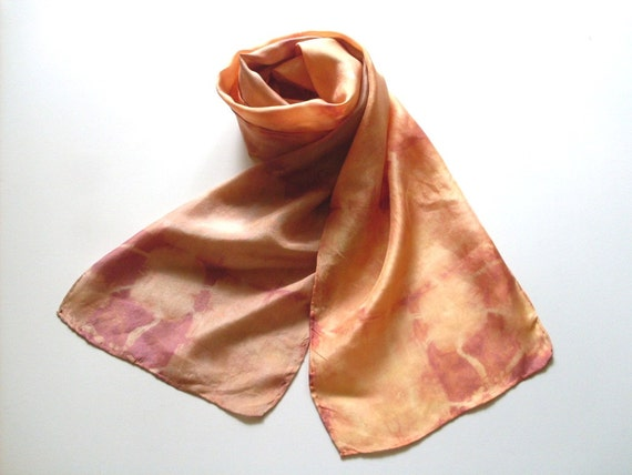 Silk Scarf Shibori Hand Dyed Soft Orange Brown