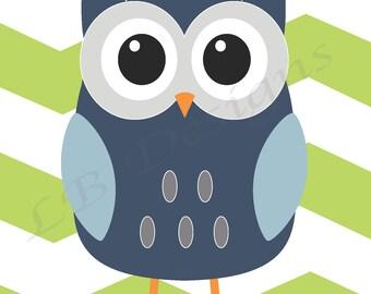 Blue and Green Nursery, Owl Nursery Print, Woodland Nursery Decor - 8x10