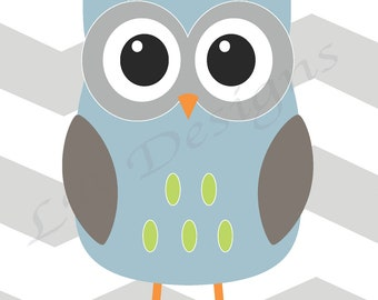 Blue and Gray Nursery, Owl Nursery Art, Woodland Nursery Decor 8x10