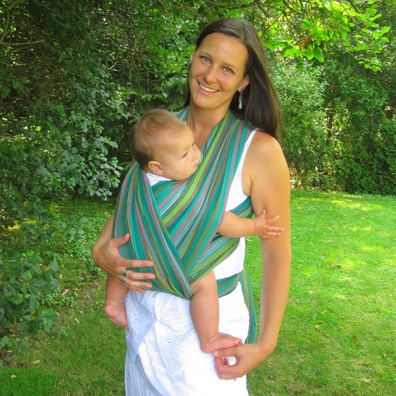 5 meters, Authentic Mexican fabric, Baby sling wrap, Woven, non stretchy. Gorgeous green with colorful stripes.