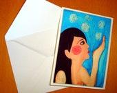 5 x 3.5 Art Dandelion Card - from original Acrylic Paint