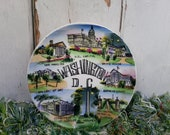 Vintage Washington D.C. Souvenir Plate - Antique Kitchen Decor or Wall Art, Hand Painted Charger,  State Plate Collectible, Vacation Momento