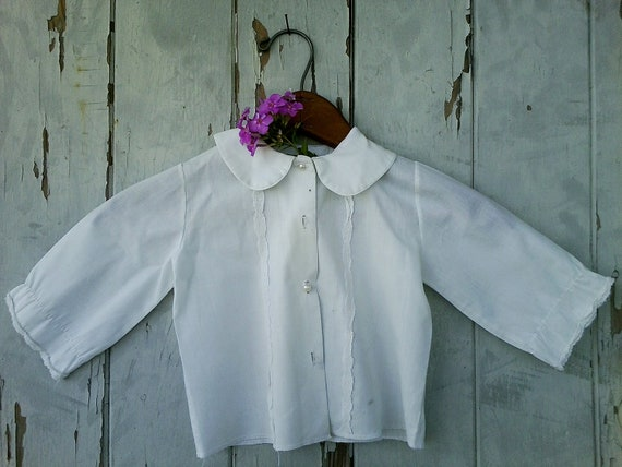 Sheer white vintage childs dress top with dainty lace