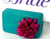 Pepper Mint Gum - set of 10 - Blue Turquoise  Pink Wooden Card Holder