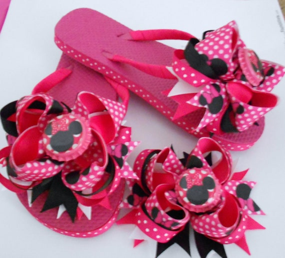 Minnie Mouse Boutique Flip Flops and matching hair bow add any name or initial to the bottle cap image