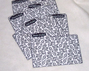 Recipe Box Dividers for Black and White Swirls Recipe Box - Index Dividers - 4X6 - Shower Gift