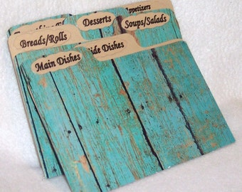 Recipe Card Dividers for Wood Fence - Turquoise Recipe Box