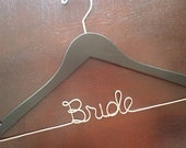 Bride Hanger, Personalized Hanger, Wedding Dress Hanger, Wedding Photo Details, Wire Name Hanger