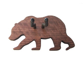 BEAR GUITAR Hanger / Handmade Wood Grizzly Bear Wall Guitar Hanger / Wood Burned Edges / Ready to Ship