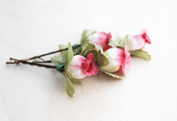 Pink and White Rosebuds Hair Pins. Flower Hair Pin. Rustic Wedding. Woodland. Hair Accessories. Fall. Autumn Wedding.