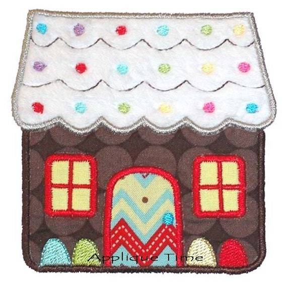 Instant Download Gingerbread House Machine Embroidery Applique