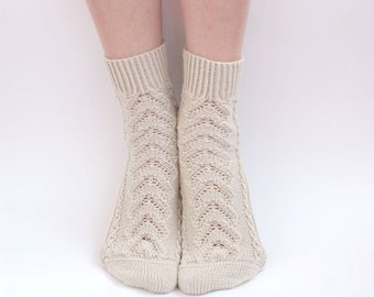 Hand knitted women fishnet Socks beige rustic white merino wool green for her