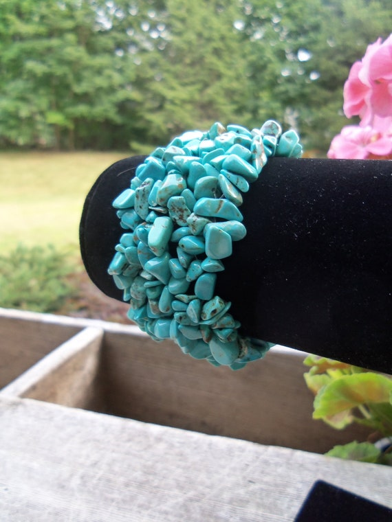 Terrific Turquoise Chips Stretch Cuff Bracelet- Man's Bracelet. Woman's Bracelet. Birthday Gift. Gift Under 30. Teen Jewelry