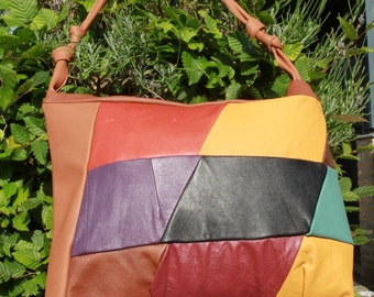 Leather shoulder bag, shopper, tote, single straps, patchwork in bright colours with a double zipper. Caramel colour.