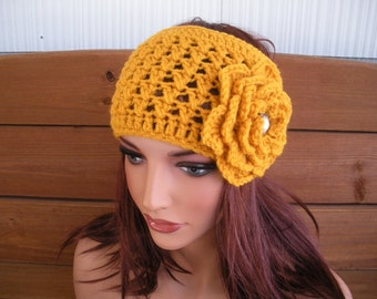 Womens Headband WIDE Crochet Headband Winter Fashion Accessories Women Ear warmer Gold with Crochet Flower - Choose color