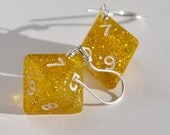 Dice Earrings, Eight Sided Die, D8, Glitter Gold, Dungeons and Dragons
