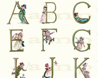 Adorable Adorned Alphabet - Wonderful Vintage  Alphabet Print - 11 x 17 or 16x20  inch