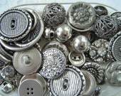 Vintage Metal Buttons, Lot of 51, Silver Toned
