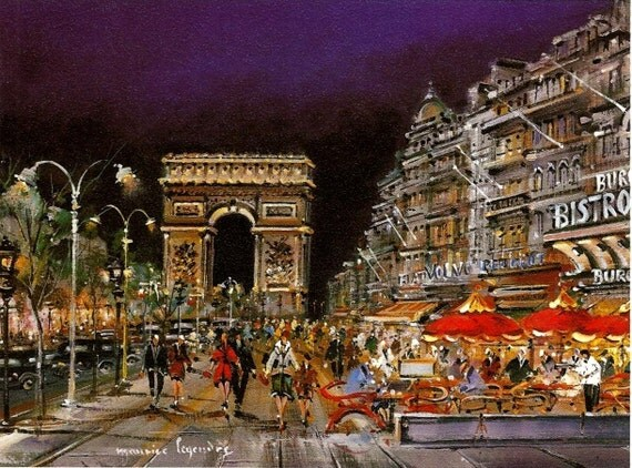 Print of Paris by Night and the Champs Elysees - illustration painting reproduction