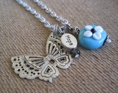 Blue Butterfly Glass Bead Necklace