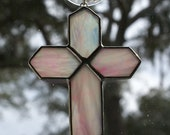 Pink/White Iridescent Stained Glass Cross - Holiday Ornament - Package Embellishment