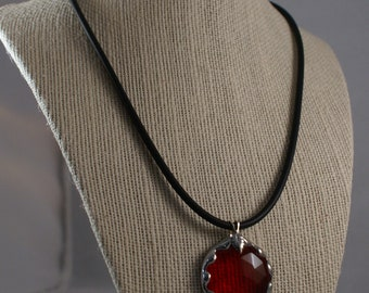 Scarlet Red Crystal Faceted Pendant on 100% Rubber Cord Necklace - Sterling Silver Lobster Clasp and Bail