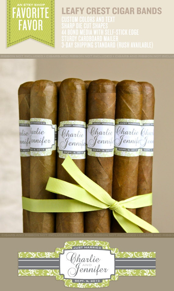 96 Wedding Cigar Bands - Custom Printed Labels - Leafy Crest