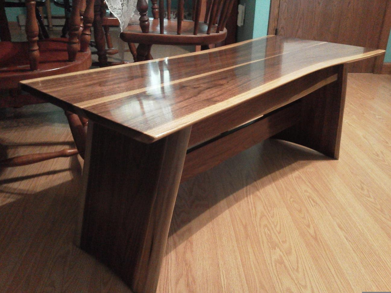 Coffee Table Walnut Black Live Edge Asian Rustic By Eliwoodworks