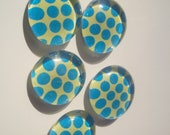 50% off - 5 Piece Glass Magnet Set - Fridge Glass Magnets - Neon Yellow Torquoise Polka Dot - Glass Gem Magnets - Round Magnets
