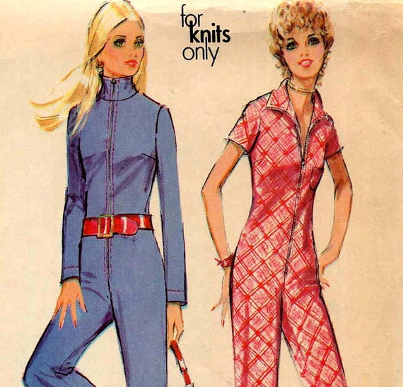 70s Mod Front Zip Jumpsuit Vintage Sewing Pattern McCalls 2759 Bell Bottoms Convertible Collar Bust 36