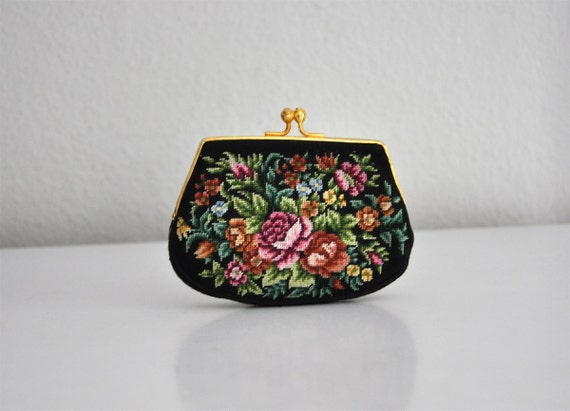 Vintage 80s Black Floral Tapestry Needlepoint Coin Purse Wallet
