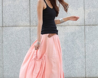 Lagenlook Maxi Skirt Side Pockets Pleat Long Maxi Skirt in Pink - NC409