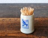 Vintage Beer Stein German Lowenbrau Munich Mini Stoneware Toothpick Holder Advertising, Man Cave Collectible Decor