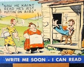 1950s Giant Comic Postcard Hillbilly MWM Unused Linen Post Card Aurora MO