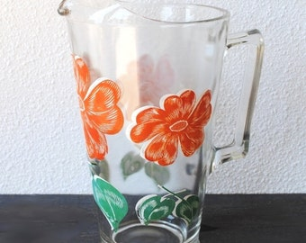 Vintage Glass Pitcher, Large Jeannette Decorated Cosmos Red Poppy Flowers, 1940s Water Tea Ice Lip Collectible Rare Glassware