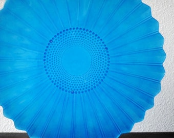 Arcoroc France Blue Glass Platter Plate, Sun Flower Pattern Serving Tray, Mid Century Vintage
