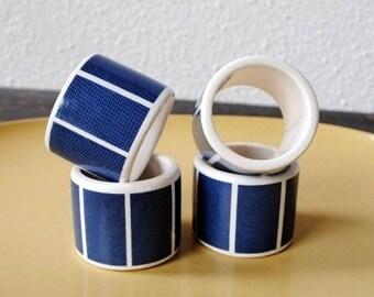 Preppy Vintage Tableware Napkin Rings, 1980s Blue White Block Pattern Serving Table Decor