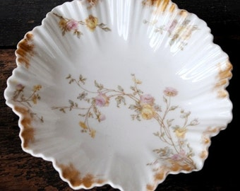 Antique Hand Painted Pink Roses Limoges R Delinieres Bowl Dish, Gold Guild Signed 1881-1900