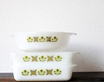 Fire King Bakeware Set, Green Yellow Flower Baking Dish Set, Square Pan Loaf & Round Casserole, 1960s Anchor Hocking