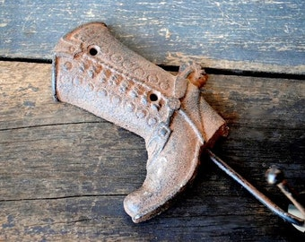 Antique Cast Iron Wall Hook, Western Art Decor Cowboy Boots, Rustic General Store Display