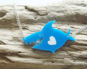 Gavin the shark laser cut acrylic necklace with a swappable coloured heart