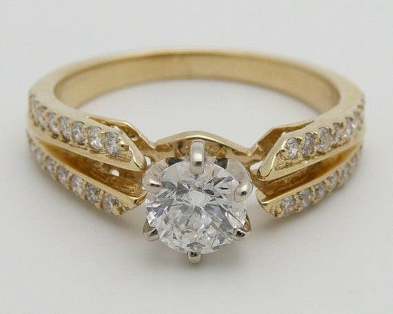 Diamond Engagement Ring 14K Yellow Gold .74 ct Genuine Natural Round Size 6