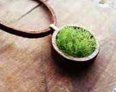 Wood and Grass Necklace, Faux Grass in Genuine Wood Bezel Cup on Leather Chain