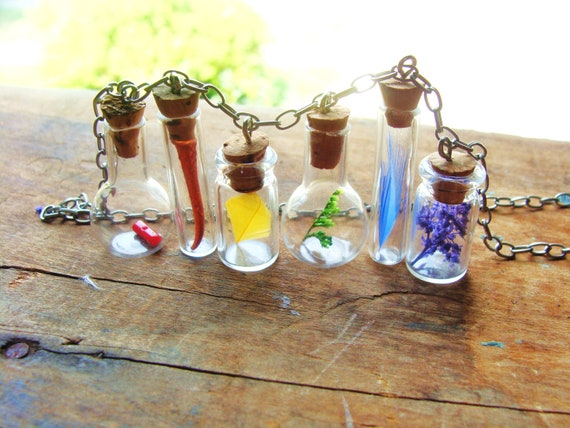 Rainbow Necklace. Nature Findings in Different Style Miniature Bottles on Tarnished Silver Chain. All Materials are Real