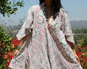 Rare Beauty One of a Kind Vintage Indian Cotton Mini Dress Flutter Sleeves